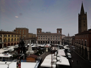 This is Piazza Saffi. This was taken on market day, it's usually less busy!